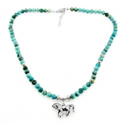 Turquoise Necklace with Sterling Silver Horse Pendant