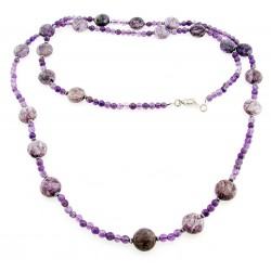 Southwestern Amethyst Necklace with Sterling Silver 36 Inch