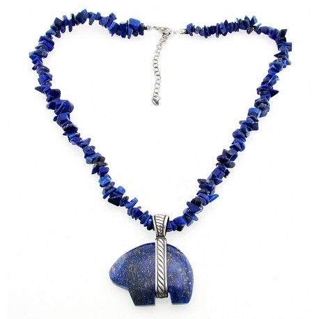 Sterling Silver and Lapis Necklace with Bear Pendant