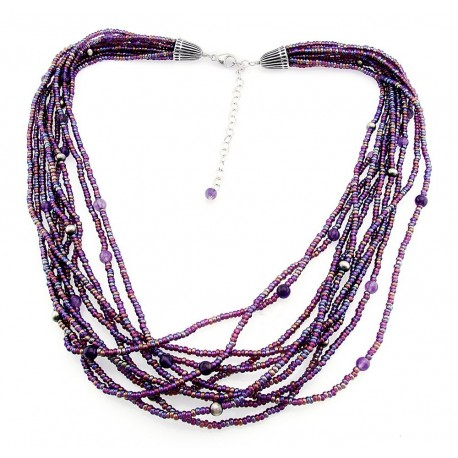 Gemstone Necklace with Sterling Silver
