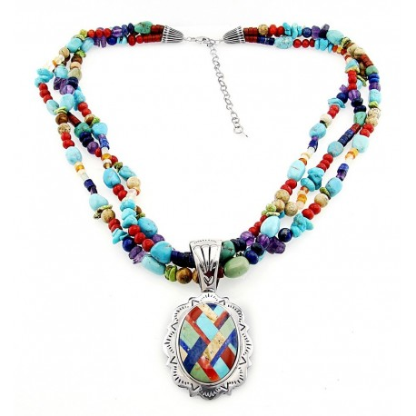 Southwestern Gemstone Necklace with Large Sterling Silver Inlay Pendant