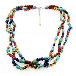 Southwestern Gemstone Necklace with Sterling Silver – Blue Shade