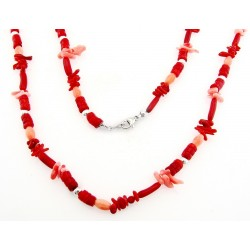 Southwestern Pink and Red Coral Necklace with Sterling Silver