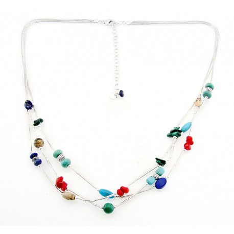 Southwestern Liquid Silver Necklace with Gemstones