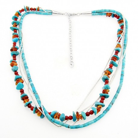 Southwestern Liquid Silver, Turquoise and Amber Necklace