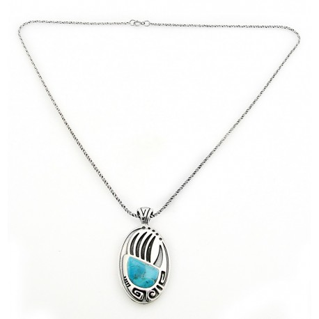 Southwestern Sterling Silver Bear Paw Pendant with Turquoise