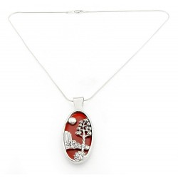 Southwestern Sterling Silver Carnelian Pendant with Snake Chain