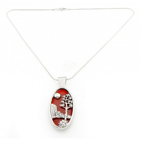 Southwestern sterling silver carnelian pendant with snake chain southwestern sterling silver carnelian pendant with snake chain aloadofball Choice Image