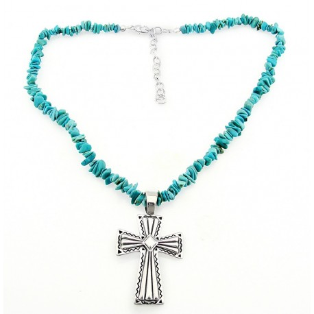 Southwestern Turquoise Necklace with Sterling Silver Cross Pendant