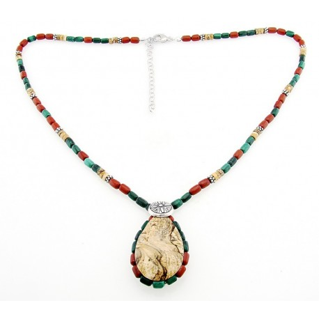 Southwestern Gemstone and Sterling Silver Necklace with Jasper Pendant