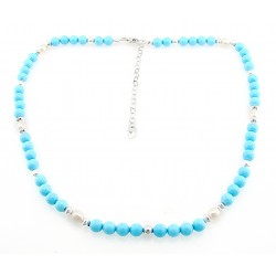 Southwestern Sterling Silver Turquoise and Pearl Necklace