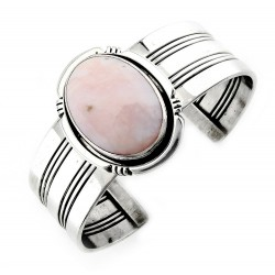 Southwest Sterling Silver Cuff Bracelet with Pink Opal