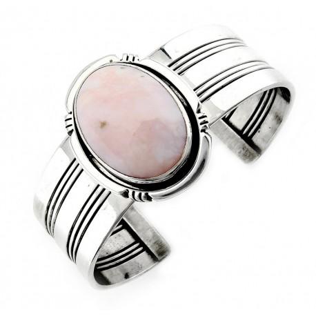 Southwest Sterling Silver Cuff Bracelet with Pink Opal