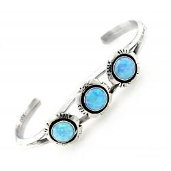 Southwestern Sterling Silver Cuff Bracelet with Blue Opal
