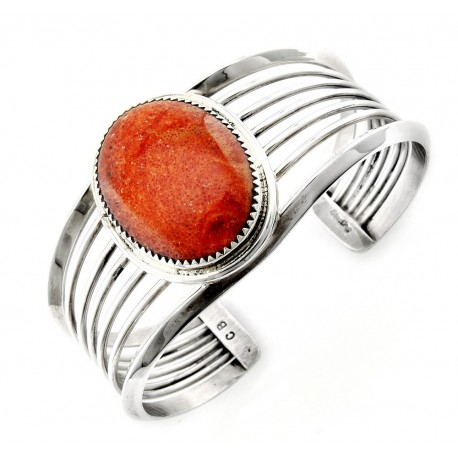 Southwestern Sterling Silver Cuff Bracelet with Large Coral