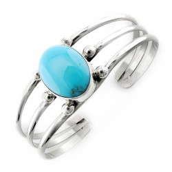 Southwest Sterling Silver Cuff with Blue Turquoise