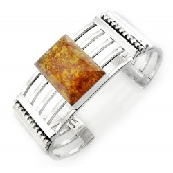 Southwestern Sterling Silver Cuff Bracelet With Amber