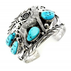 Sterling Silver Cuff Bracelet with Wolf and Turquoise