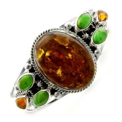 Southwestern Sterling Silver Cuff with Large Amber