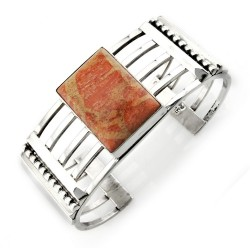 Southwestern Sterling Silver Cuff Bracelet With Coral
