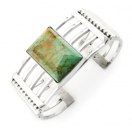 Sterling Silver Cuff Bracelet with Green Turquoise