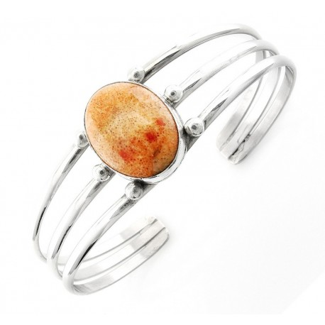 Sterling Silver Cuff Bracelet with Coral
