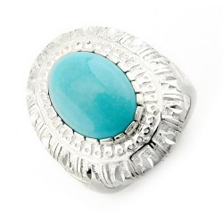 Southwestern Sterling Silver Diamond Cut Border Ring with Turquoise
