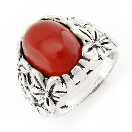 Sterling Silver Ring with Carnelian