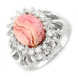 Sterling Silver Ring with Rhodochrosite and CZ