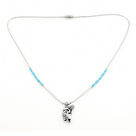 Southwestern Liquid Sterling Silver Necklace with Kokopelli