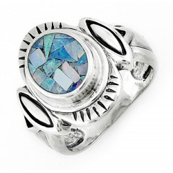 Southwestern Sterling Silver Ring with Mosaic Opal Inlay