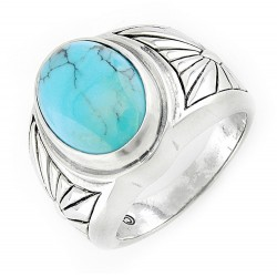 Southwestern Sterling Silver Ring with Turquoise