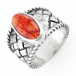 Southwestern Sterling Silver Ring with Coral