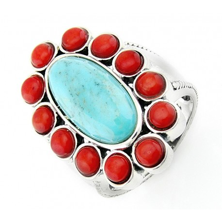 Southwestern Sterling Silver Ring with Turquoise and Coral