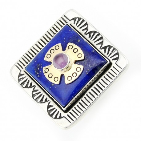 Southwestern Sterling Silver and 14K Gold Victoria Adams Ring