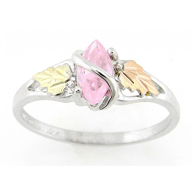 Black Hills Gold On Sterling Silver Ring With Pink Cz