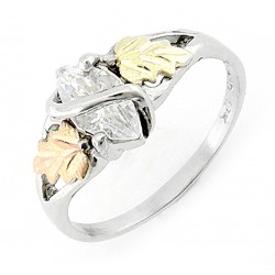 Black Hills Sterling Silver and 12K Gold Ring with CZ
