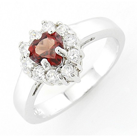 Sterling Silver Heart Garnet Ring with Cubic Zirconia