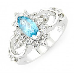 Sterling Silver Blue Topaz Ring with Cubic Zirconia