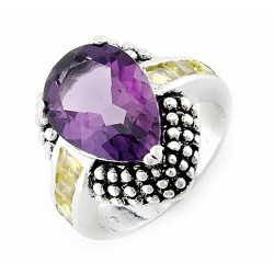 Sterling Silver Ring with Amethyst and Citrin