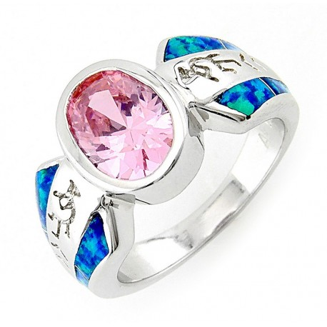 Sterling Silver Pink CZ Ring with Opal Inlay