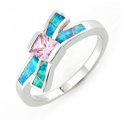 Sterling Silver Pink CZ Ribbon Ring with Opal Inlay