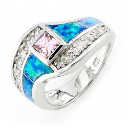 Sterling Silver Opal Inlay Ring with Pink CZ