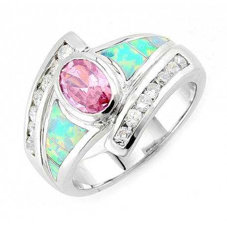 Sterling Silver Opal Ring with Pink CZ