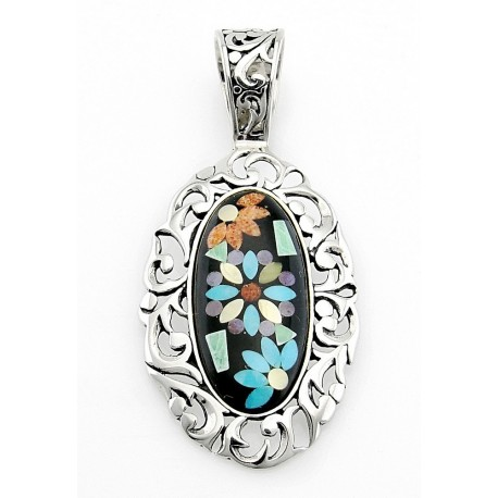inlay oval jewellery turquoise stop the flower pendant