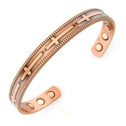 Magnetic Copper Cuff Bracelet with Cross