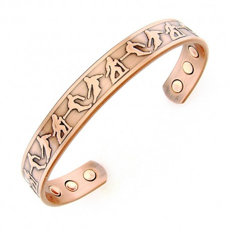 Magnetic Copper Cuff Bracelet with Skiers