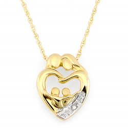 10K Gold Two Parent and Two Child Family Heart Pendant