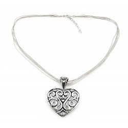 Sterling Silver Heart Pendant with Liquid Silver Necklace