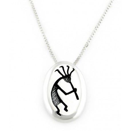 Southwestern Sterling Silver Kokopelli Pendant with Necklace